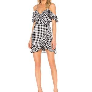 Revolve Size S Black/white gingham wrap dress